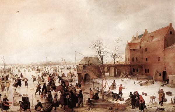 A Scene On The Ice Near A Town 1615